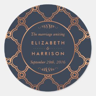 Mercis géométriques vintages de mariage de Gatsby Sticker Rond