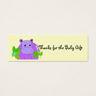 Mercis pourpres d'hippopotame du cadeau de bébé mini carte de visite