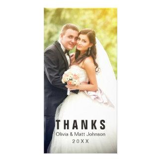 Mercis simples de mariage - plein carte photo photocartes