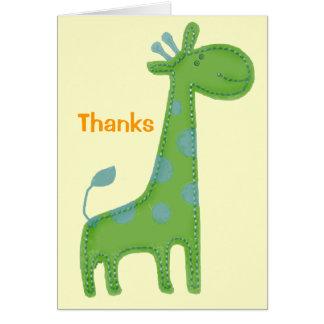 Mercis verts d'Applique de girafe Carte De Correspondance
