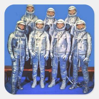mercure 7 astronautes sticker carré