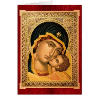 Mère de Dieu Glykophilousa - carte de voeux