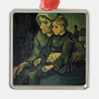 Mère de Vincent van Gogh   et enfant, 1885 Ornement Carré Argenté