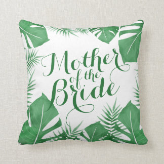 Mère du coussin vert tropical de mariage de jeune