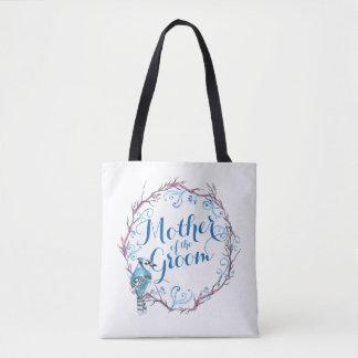 Mère du sac fourre-tout bleu à mariage d'oiseau de