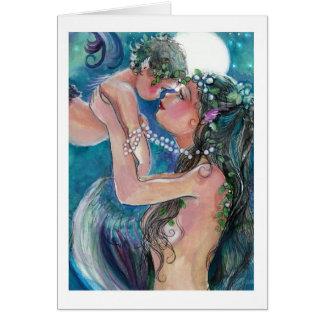 Mère et bébé en mer cartes de vœux