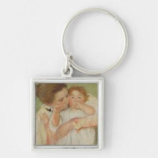 Mère et enfant, 1897 porte-clé carré argenté