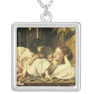 Mère et enfant (aka cerises) par seigneur Leighton Pendentif Carré