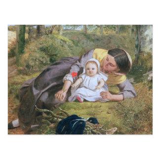 Mère et enfant avec un pavot carte postale