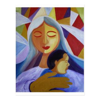 Mère et enfant en monde de cubisme cartes postales