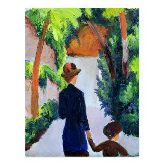 Mère et enfant en parc, 1914 carte postale