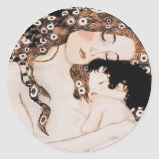 Mère et enfant Gustav Klimt Sticker Rond