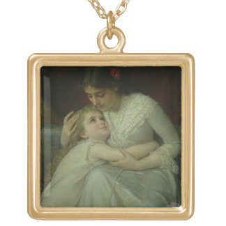 Mère et enfant (huile sur la toile) pendentif carré