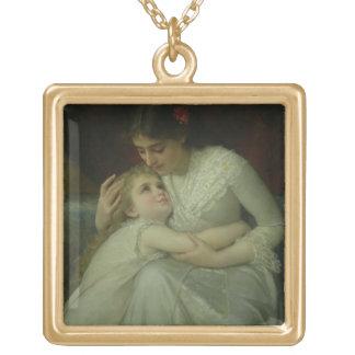 Mère et enfant (huile sur la toile) collier plaqué or