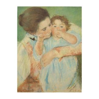 Mère et enfant par Cassatt impressionisme vintage Impressions Sur Bois