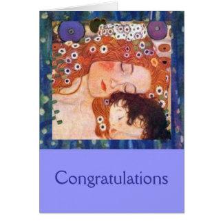 Mère et enfant par Klimt Carte De Vœux