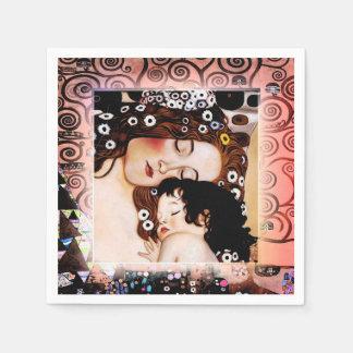 Mère et enfant par le collage de Gustav Klimt Serviettes Jetables