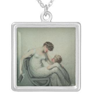 Mère et enfant pendentif carré