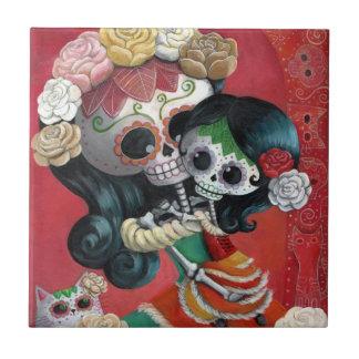 Mère et fille de Dia de Los Muertos Skeletons Petit Carreau Carré