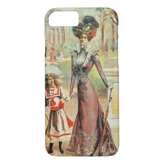 Mère et fille sur une promenade (litho de couleur) coque iPhone 7