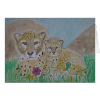 mère et petit animal de guépard cartes de vœux