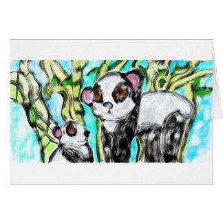 Mère et petit animal de panda carte de vœux