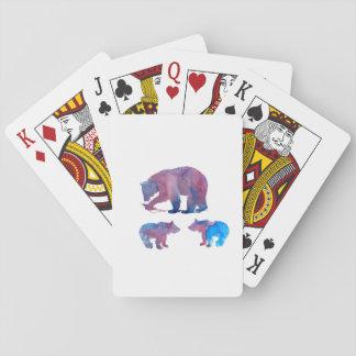 Mère et petits animaux d'ours jeu de cartes