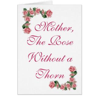Mère, le rose sans épine carte de vœux