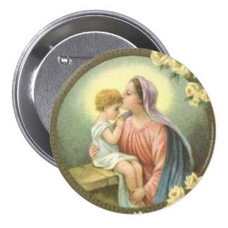 Mère Mary de Vierge embrassant les roses de Jésus Badge
