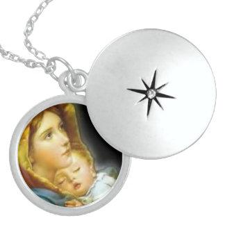 Mère Mary de Vierge et enfant Jésus de bébé Collier En Argent
