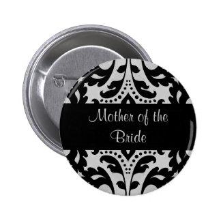 Mère noire et grise de damassé de victorian de badge rond 5 cm