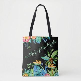 Mère noire florale tropicale de la jeune mariée tote bag