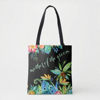Mère noire florale tropicale du marié tote bag