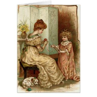 Mère vintage et enfant cartes de vœux