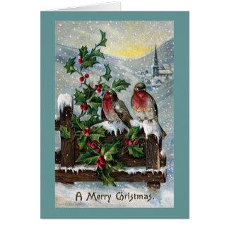 Merles anglais sur Noël d'antiquité de barrière Carte De Vœux