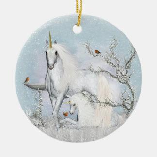 Merles d'hiver et ornement rond en céramique de