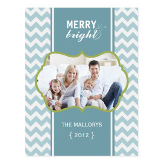 Merry and Bright Blue Chevron Holiday Postcard