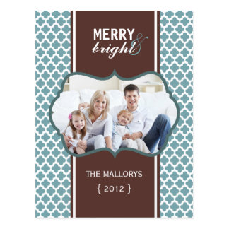 Merry and Bright Blue Quatrefoil Holiday Postcard