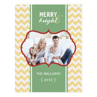 Merry and Bright Chevron Holiday Postcard