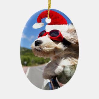 Merry Christmas dog Ornement Ovale En Céramique
