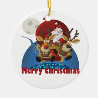 Merry christmas ornement rond en céramique