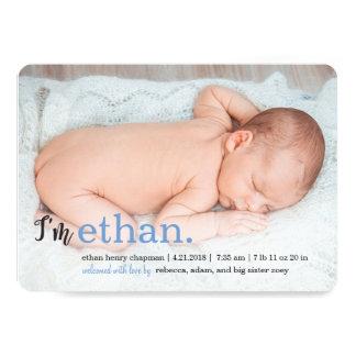 MES annonces modernes NOMMÉES de naissance Carton D'invitation 12,7 Cm X 17,78 Cm