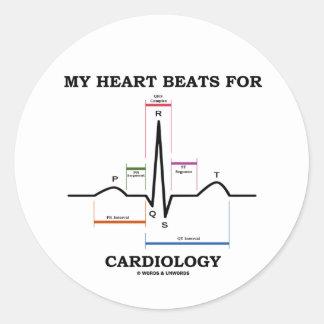 Mes battements de coeur pour la cardiologie sticker rond