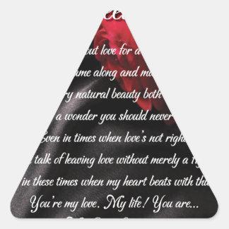 Mes cadeaux doux d'art de poésie de merveille sticker triangulaire