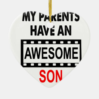 Mes parents ont un fils impressionnant ornement cœur en céramique