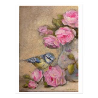 Mésange & bouquet de roses  © Atelier Flont Carte Postale