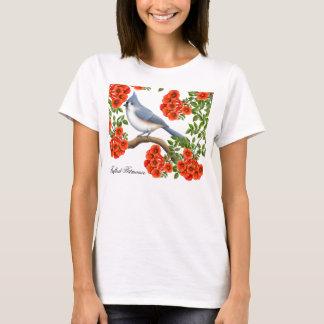 Mésange tuftée dans la chemise de vignes de t-shirt