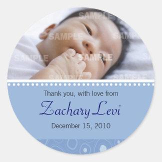 Message bleu de bébé de boule de gomme autocollant