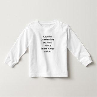 Message d'allergie d'écrou de chemise d'enfant t-shirt pour les tous petits
