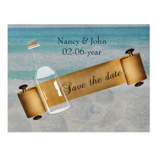 Message dans un mariage de plage de bouteille cartes postales